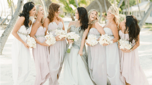 blue-mermaid-wedding-dress-and-bridesmaids-pink