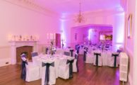 Banqueting hall lit in blue