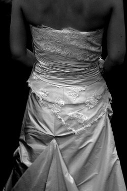 Back view of a wedding dress