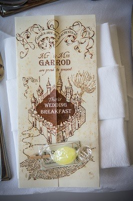 A Harry Potter themed wedding breakfast menu