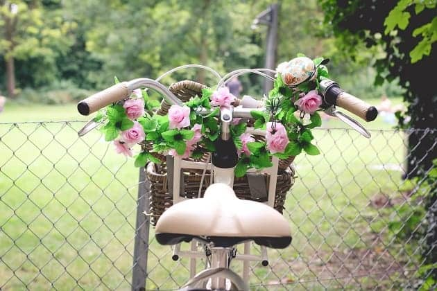 A bike with flowers