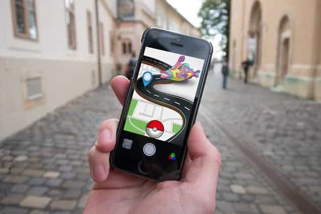 A phone playing Pokemon Go