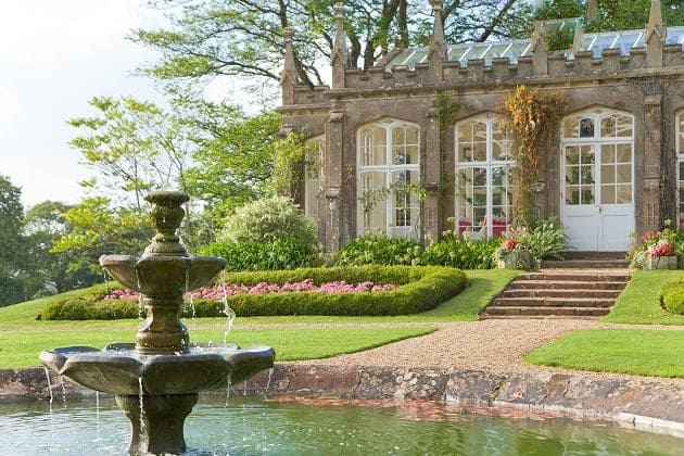 A view of St Audries Orangery including a fountain