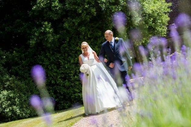 lavender bride and groom