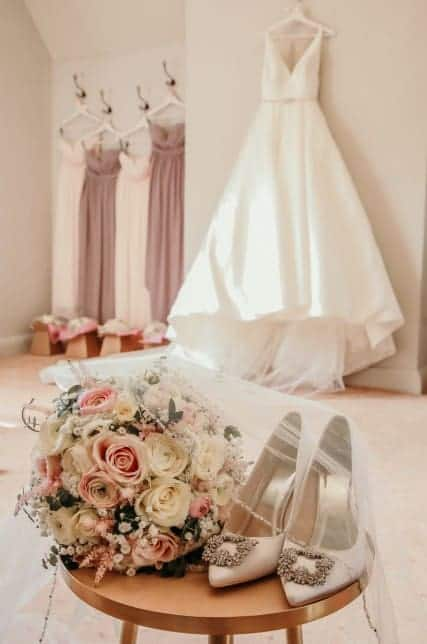Bride dress and footwear