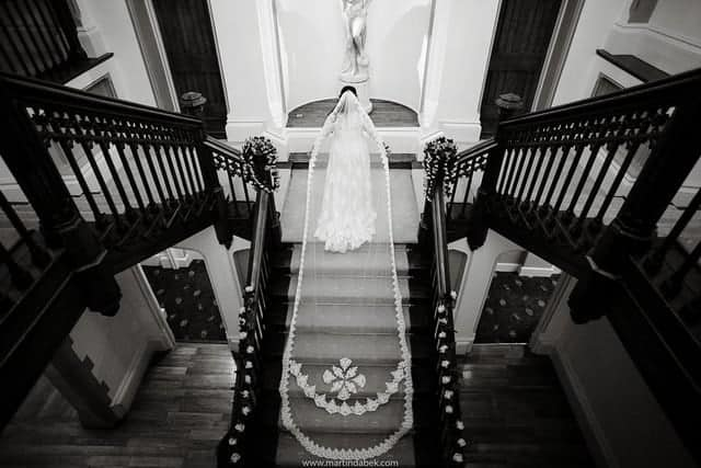 Bride Dress across Stairs